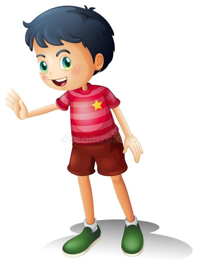 Um menino com uma camisa da listra ilustração do vetor