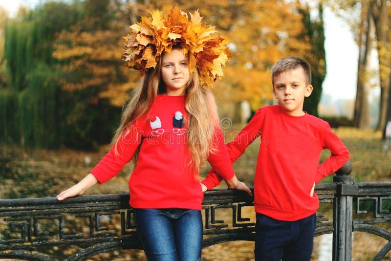 Um menino com uma menina está andando em um parque do outono fotografia de stock