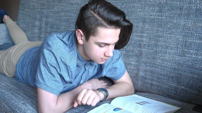 Um menino considerável um adolescente lê um livro em um sofá cinzento, olhos marrons imagem de stock royalty free