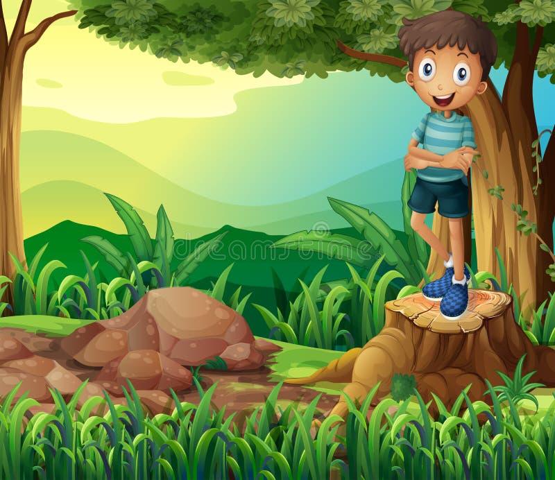 Um menino de sorriso acima de um coto de uma árvore ilustração do vetor