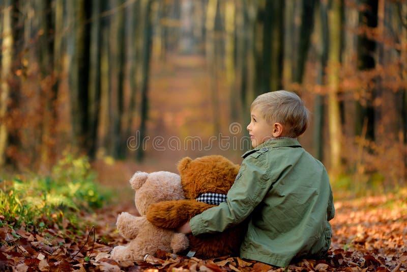 Um menino de sorriso pequeno que joga no parque do outono foto de stock