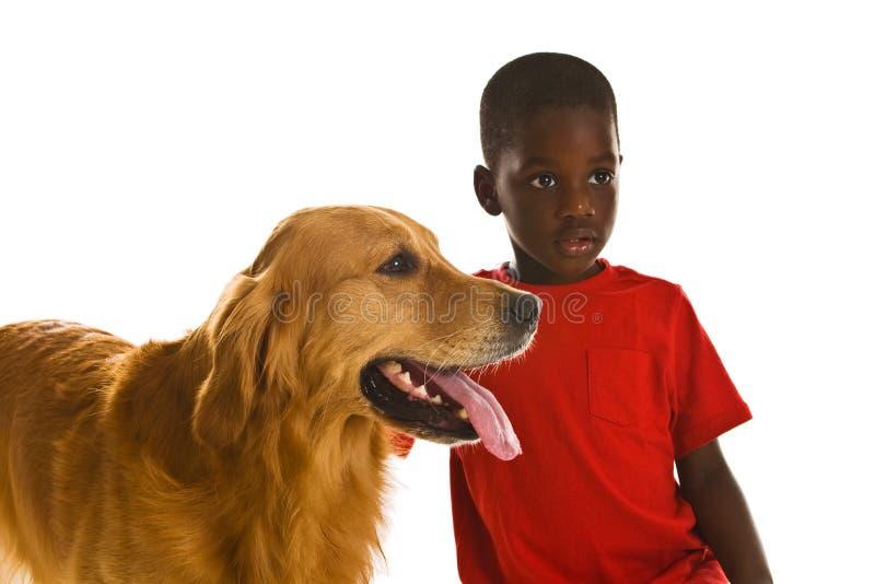 Um menino e seu cão. imagens de stock royalty free