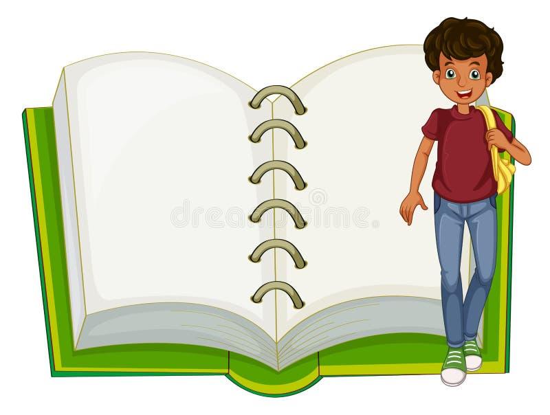 Um menino e um caderno vazio ilustração royalty free