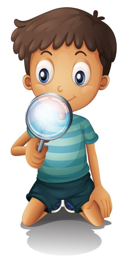 Um menino e uma lente de aumento ilustração do vetor