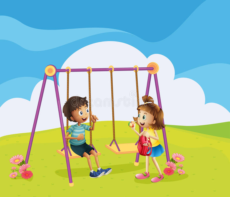 Um menino e uma menina no campo de jogos ilustração royalty free