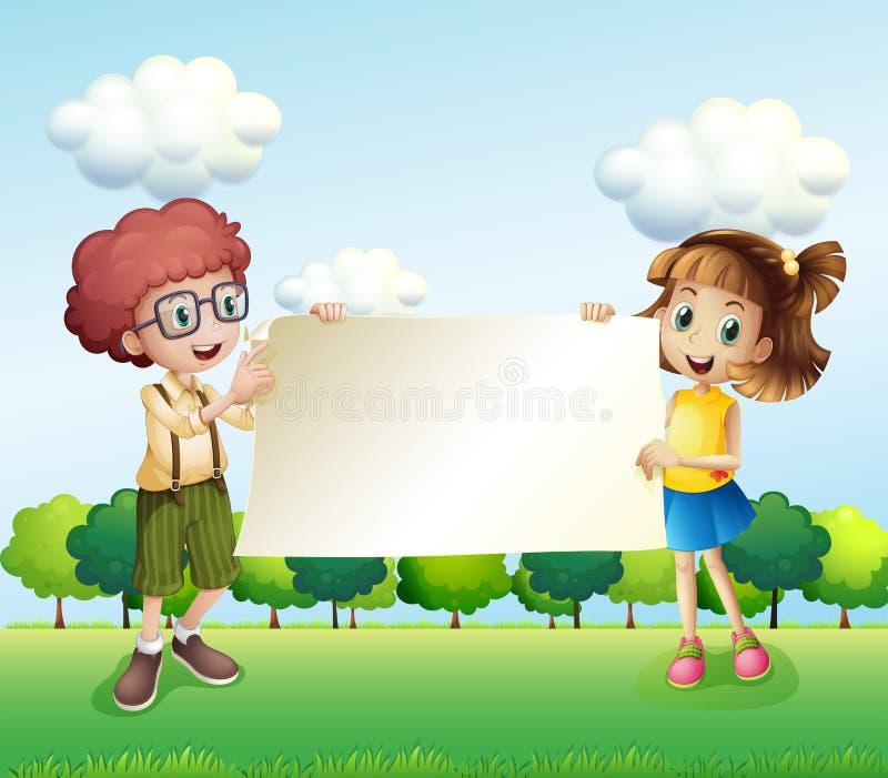 Um menino e uma menina que guardam um signage vazio ilustração do vetor