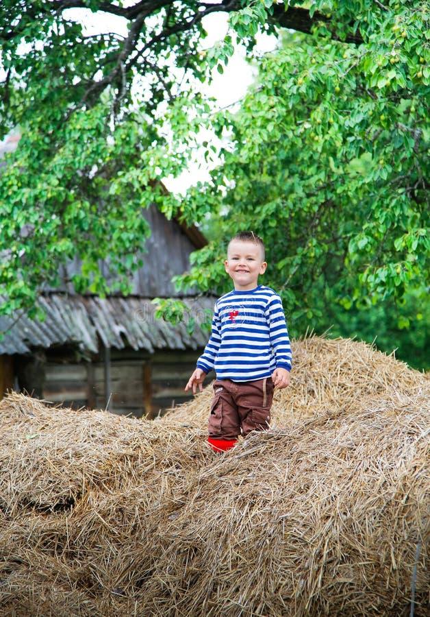 Um menino em um t-shirt listrado que tem o divertimento em um monte de feno foto de stock