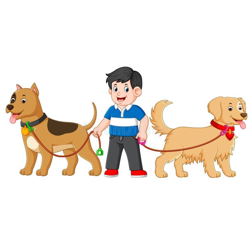 Um menino está estando entre o cão dois bonito grande e está usando uma camisa azul ilustração do vetor