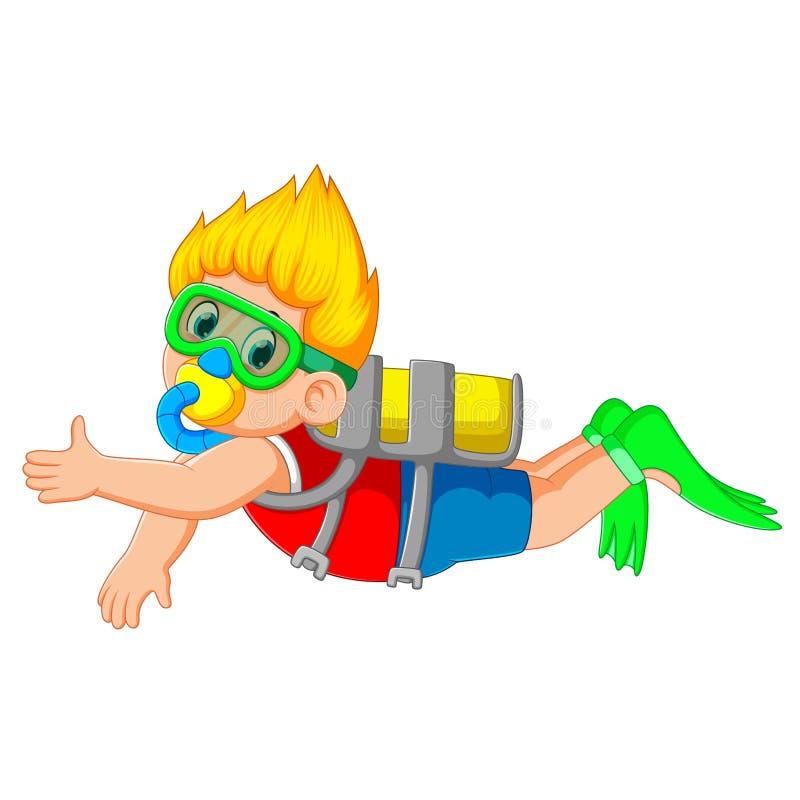 Um menino está mergulhando com os vidros nadadores verdes ilustração stock