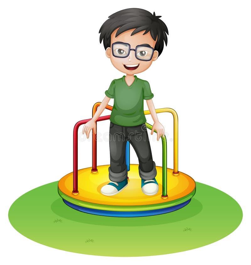 Um menino feliz acima de um passeio redondo colorido no carnaval ilustração stock