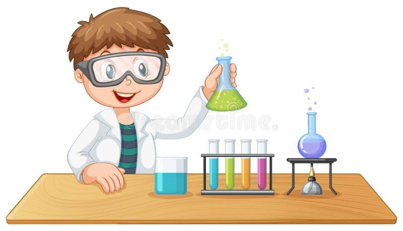 Um menino na classe de química ilustração do vetor