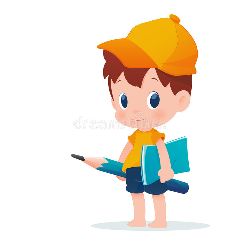 Um menino na farda da escola que levanta com um lápis enorme, c educacional ilustração do vetor