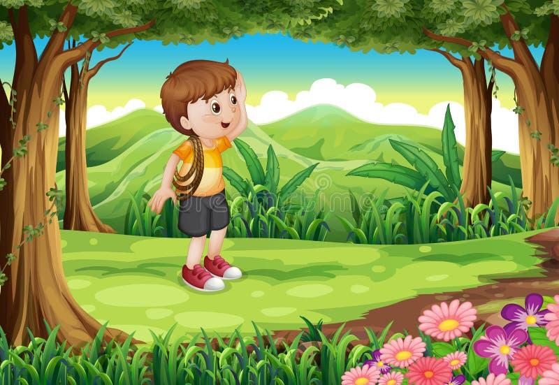 Um menino na floresta com uma corda em seu braço ilustração do vetor