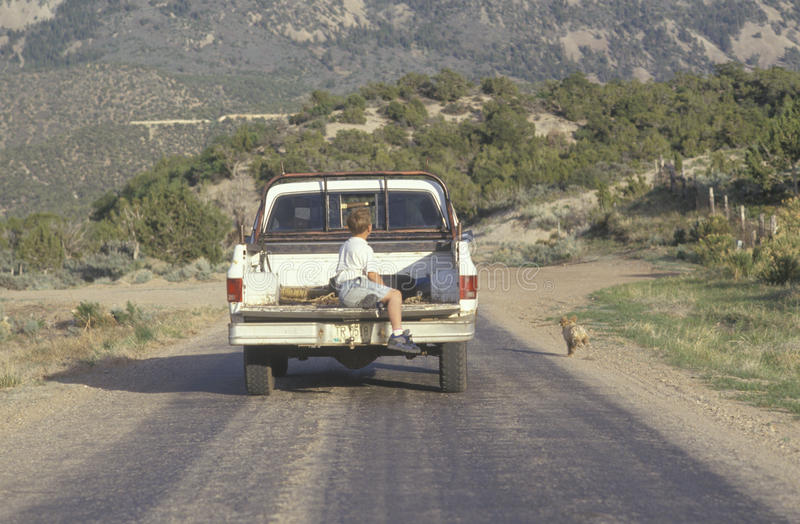 Um menino na parte traseira de uma camionete fotos de stock royalty free