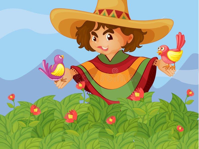 Um menino no jardim com dois pássaros ilustração stock