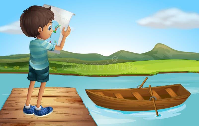 Um menino no rio com um barco de madeira ilustração royalty free