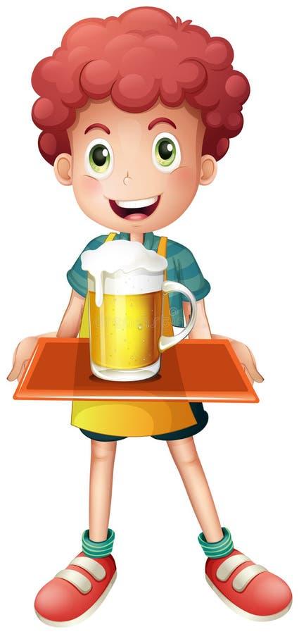 Um menino novo com uma caneca completa da cerveja fria ilustração stock