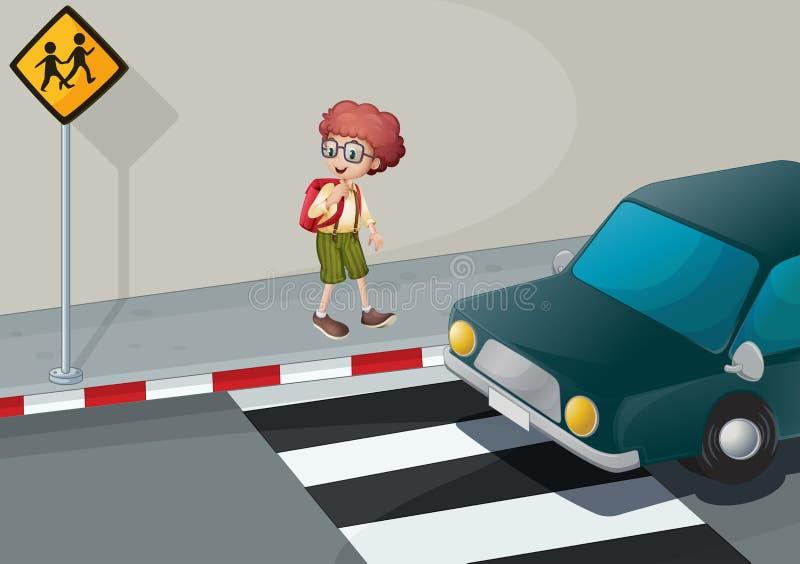 Um menino novo com uma trouxa que está perto do pedestre ilustração stock