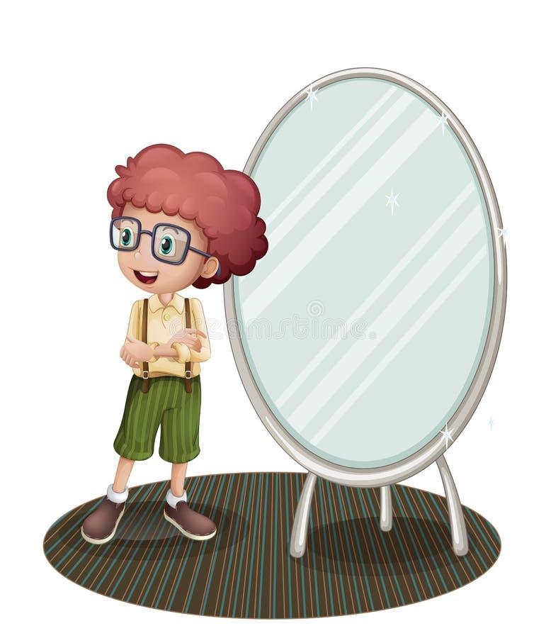 Um menino novo perto do espelho ilustração stock