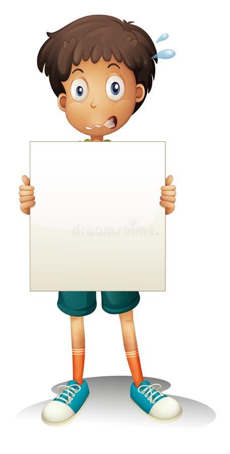 Um menino novo preocupado que guardara um signage vazio ilustração royalty free