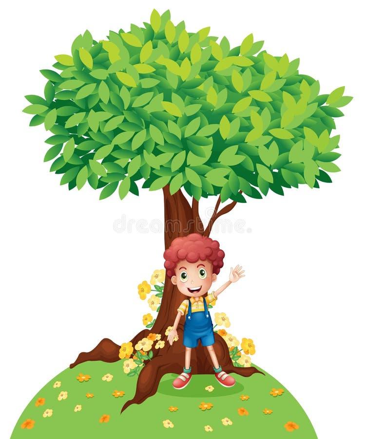 Um menino novo que está sob uma árvore grande ilustração royalty free