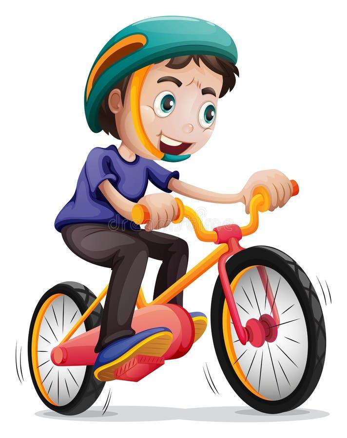 Um menino novo que monta uma bicicleta ilustração do vetor