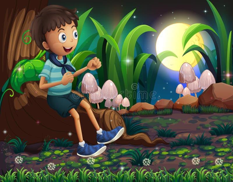 Um menino novo que senta-se acima das raizes de uma árvore gigante ilustração royalty free