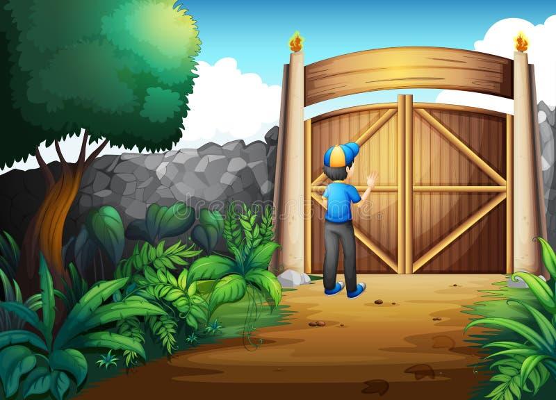 Um menino perto da porta ilustração do vetor