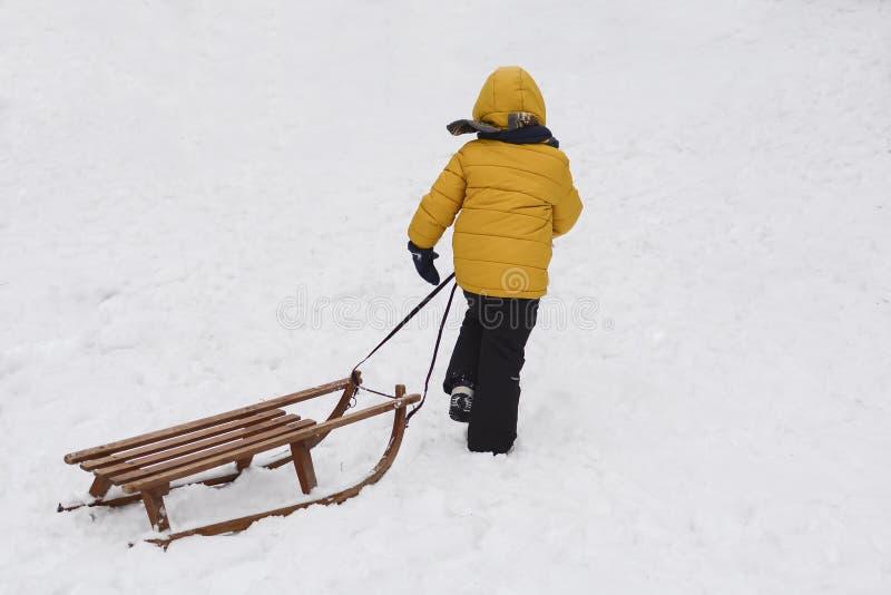 Um menino puxa o trenó na neve no parque foto de stock royalty free