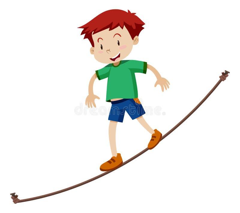 Um menino que anda em uma corda-bamba ilustração do vetor