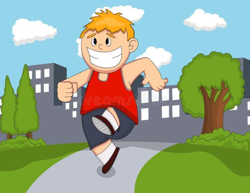 Um menino que corre nos desenhos animados do parque ilustração do vetor