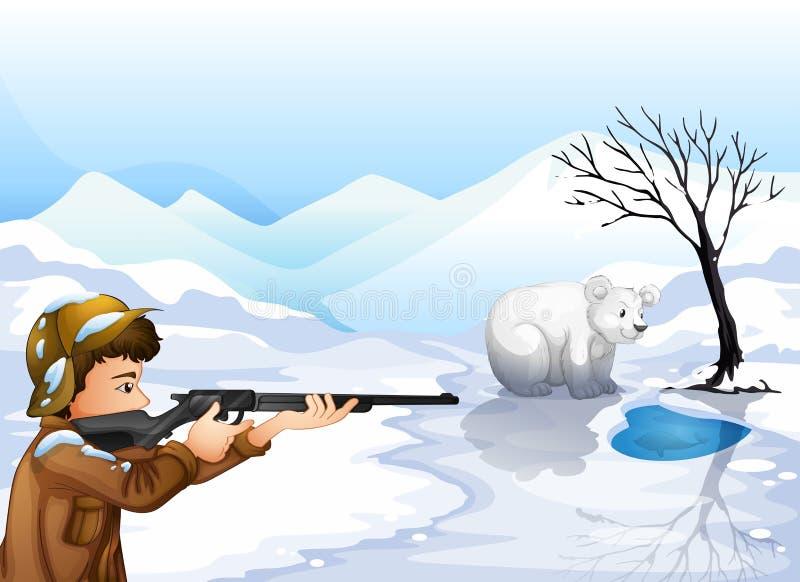 Um menino que dispara no urso ilustração stock