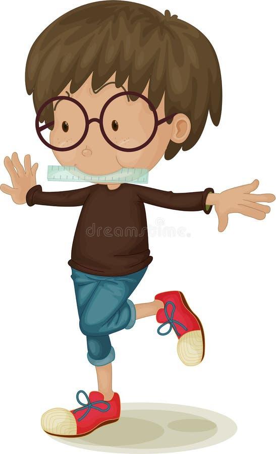 Um menino que está em um pé ilustração royalty free