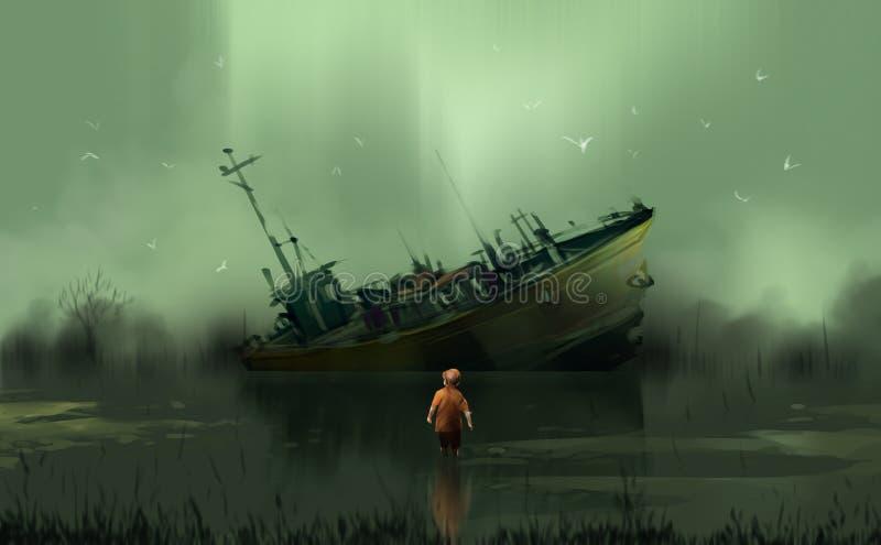 Um menino que está no olhar do pântano ao barco abandonado contra a HU ilustração royalty free