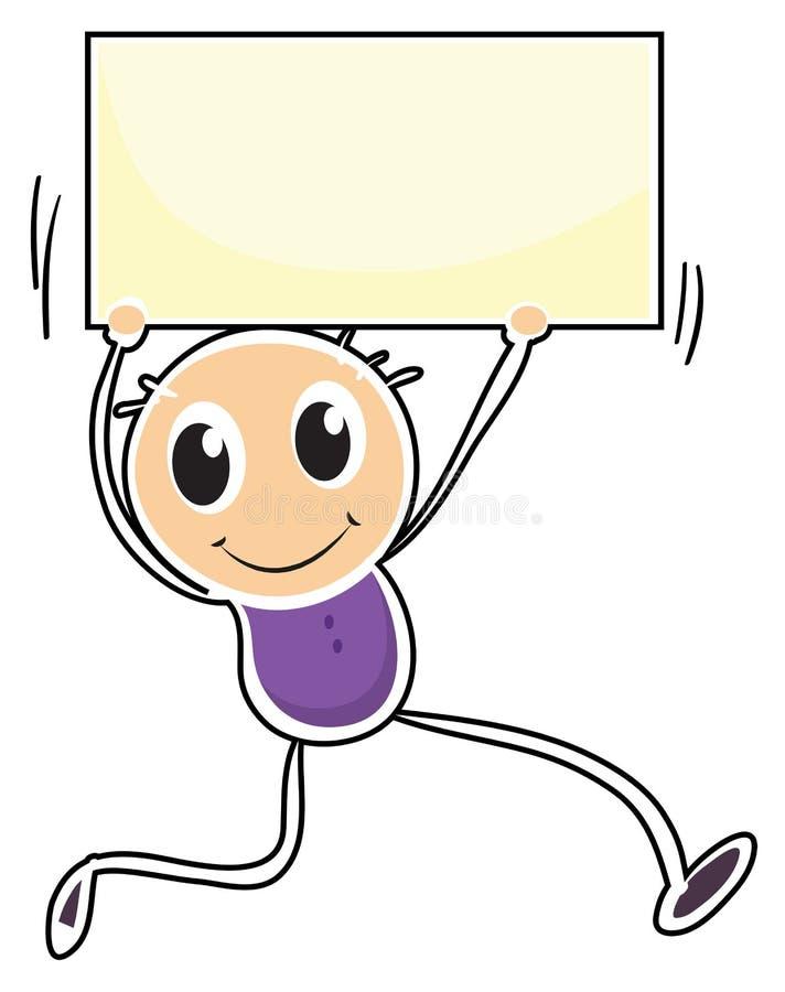 Um menino que guarda um signage vazio ilustração stock