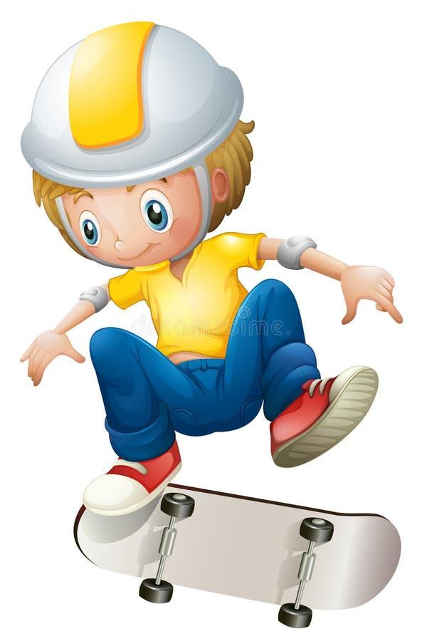 Um menino que joga com o rollerskate ilustração stock