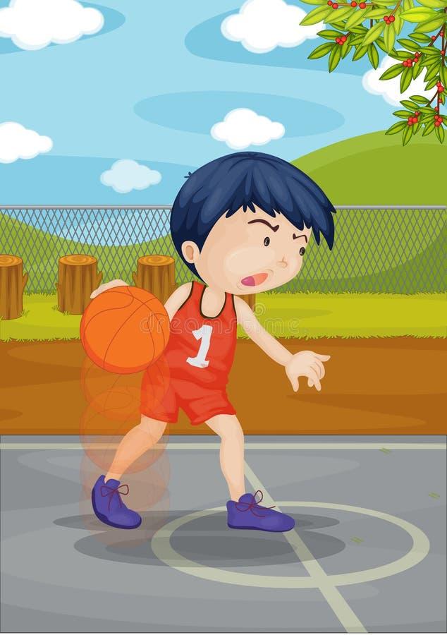 Um menino que joga a esfera da cesta ilustração stock
