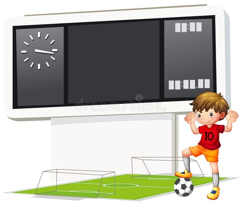 Um menino que joga o futebol na corte ilustração stock