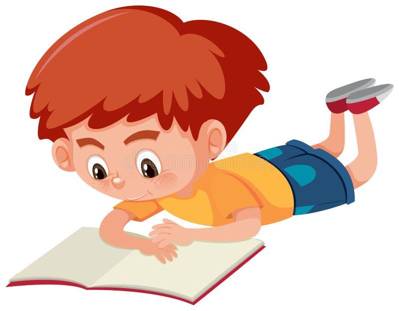 Um menino que lê um livro ilustração do vetor