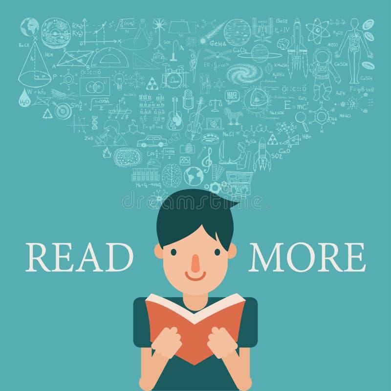 Um menino que lê um livro com fluxo do conhecimento em sua cabeça Estenda o conhecimento lendo mais conceito ilustração do vetor