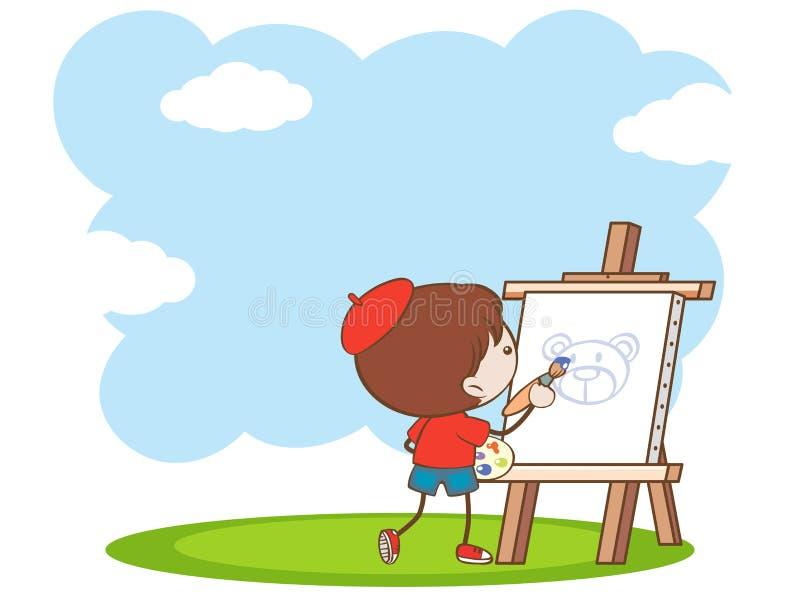 Um menino que pinta um urso ilustração stock
