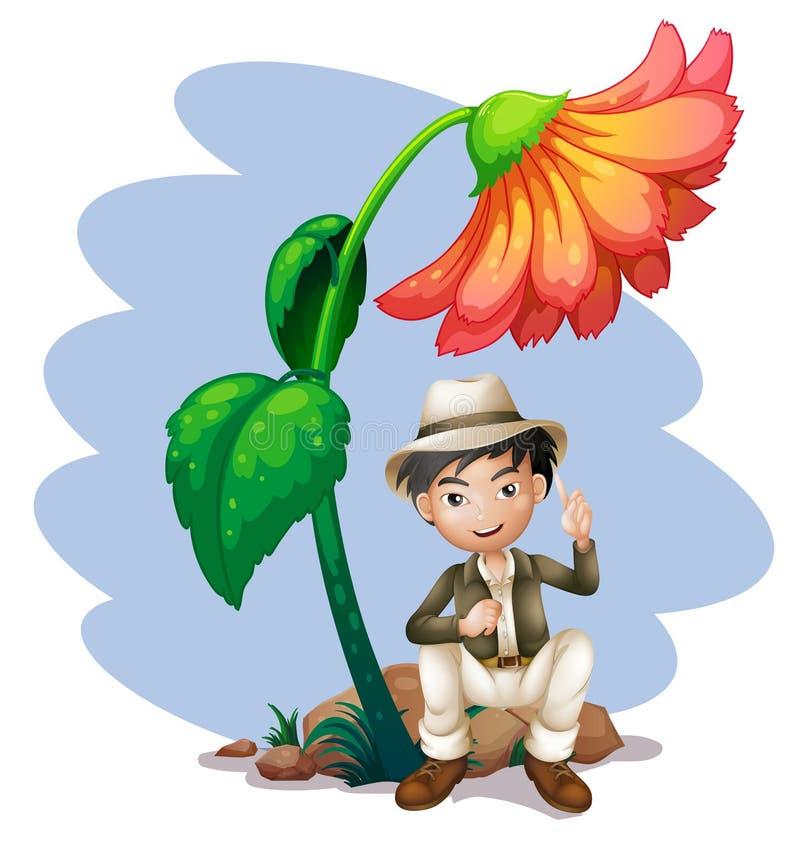 Um menino que senta-se na rocha abaixo de uma flor grande ilustração stock