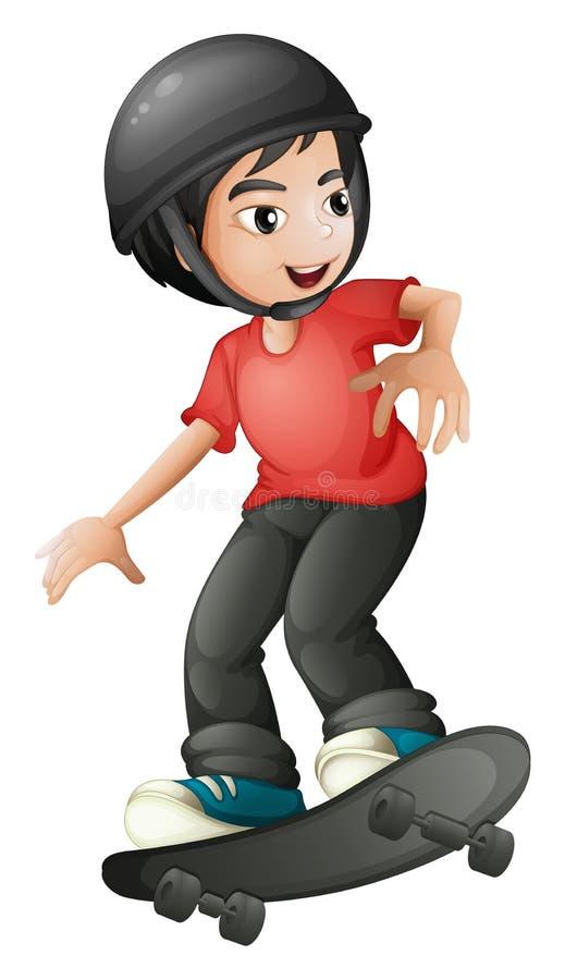 Um menino que skateboarding com um capacete ilustração royalty free