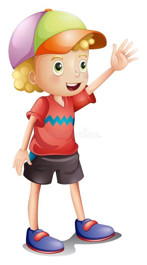Um menino que veste um tampão colorido ilustração stock
