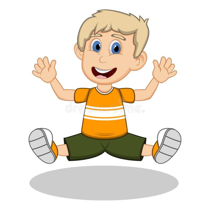 Um menino que veste uma camisa amarela e uma calças preta que saltam para desenhos animados da alegria ilustração stock