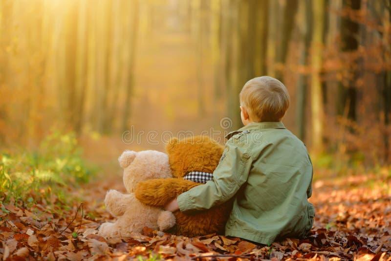 Um menino triste pequeno que joga no parque do outono fotos de stock