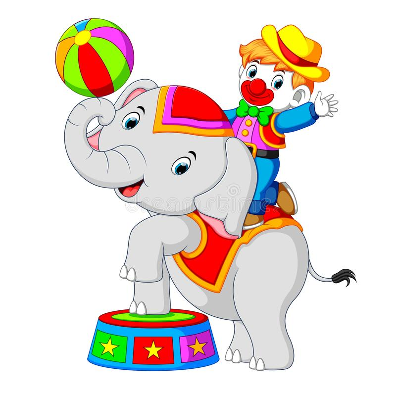 Um menino usa um traje do palhaço com um elefante ao jogar o circo ilustração stock