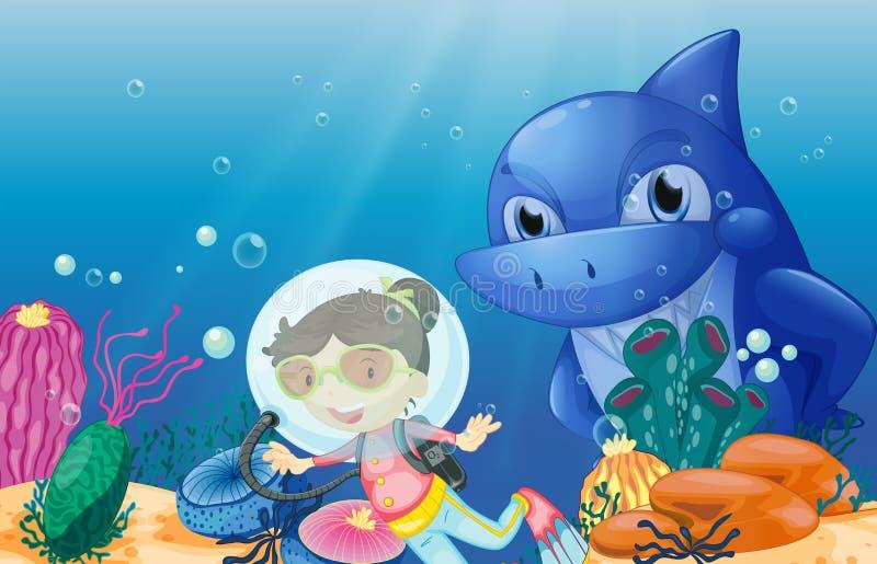 Um mergulhador de mergulhador novo ilustração do vetor