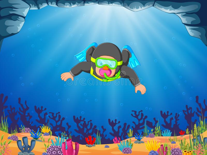 Um mergulhador profissional do homem está mergulhando com as aletas azuis ilustração stock
