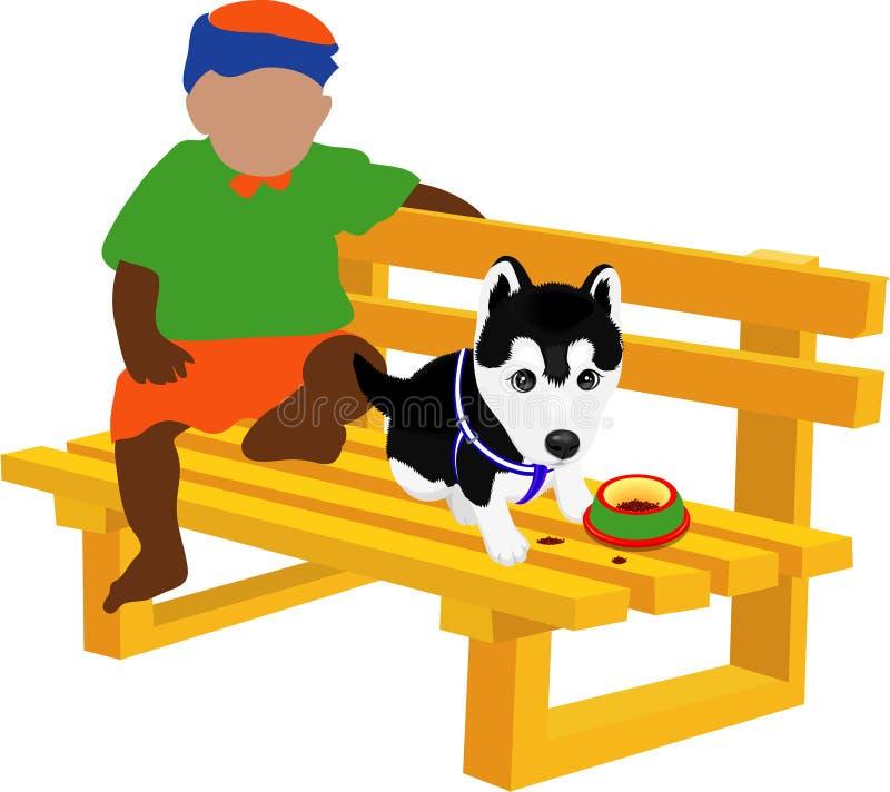 Um miúdo & um cão pequeno ilustração royalty free